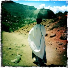 Lady with Umbrella. Lalibela